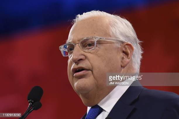 US Ambassador to Israel David Friedman speaks during the AIPAC annual meeting in Washington DC on March 26 2019