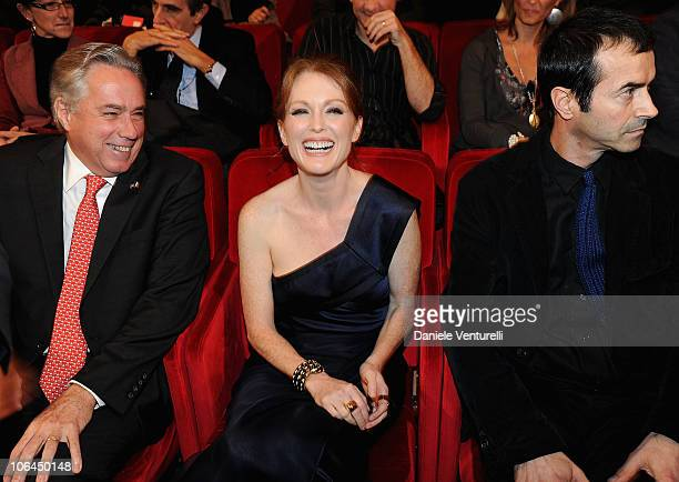 US Ambassador to Italy David Thorne actress Julianne Moore and producer Andrea Occhipinti attend the Marc'aurelio Acting Award presentation during...