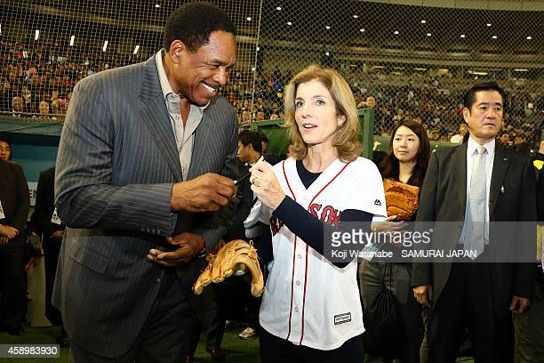 Ambassador to Japan Caroline Kennedy and Hall of Famer Dave Winfield stand on the field during game two of Samurai Japan and MLB All-Stars at Tokyo...