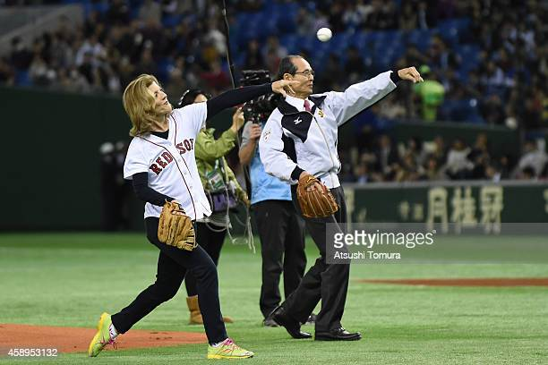 S Ambassador to Japan Caroline Kennedy and Sadaharu Oh throw the memorial first pitch prior to the during the game two of Samurai Japan and MLB All...