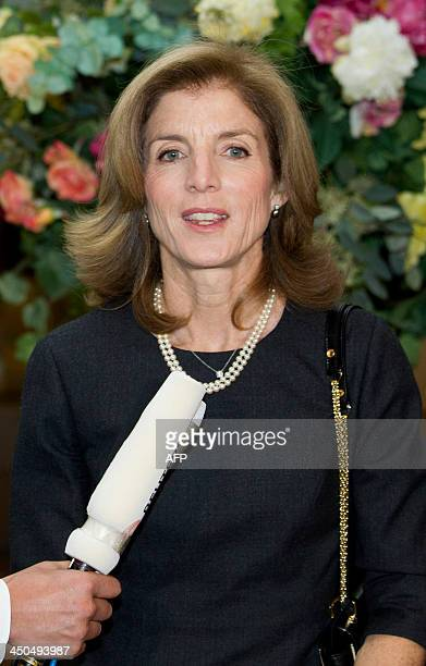 US Ambassador to Japan Caroline Kennedy gives brief remarks after presenting her credentials to Japan's emperor at the Imperial Palace in Tokyo on...
