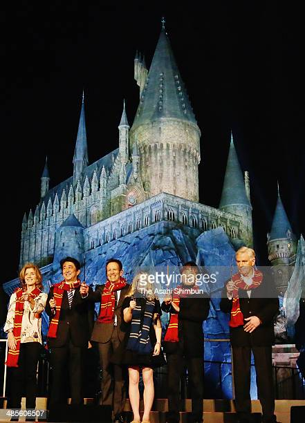 US Ambassador to Japan Caroline Kennedy Japanese Prime Minister Shinzo Abe Universal Studio Japan president Glenn Gumpel actress Evanna Lynch...