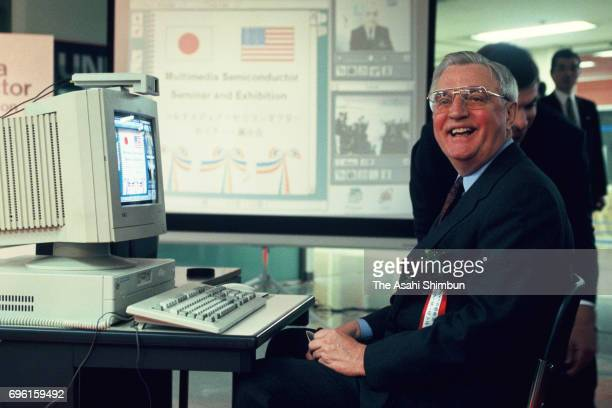 US ambassador to Japan Walter Mondale attends the Multi Media Semiconductor Seminar Opening Ceremony at Sunshine City on February 28 1995 in Tokyo...