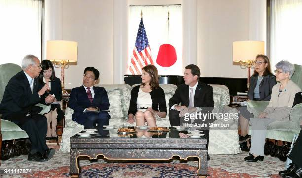 US Ambassador to Japan William Hagerty meets Sakie Yokota and Shigeo Iizuka family members of abductees by North Korea on April 10 2018 in Tokyo Japan