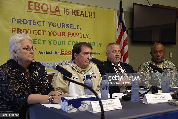 US ambassador to Liberia Deborah R Malac Ebola Disaster Assistance Response Team leader Tim Callaghan Centre for Diseases Control epidemiologist...