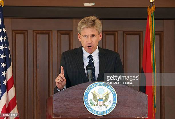 US ambassador to Libya Chris Stevens gives a speech on August 26 2012 at the US embassy in Tripoli in which he declared that the consular section...