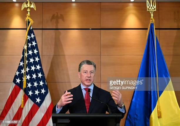 US Ambassador to NATO and US special envoy for Ukraine Kurt Volker speaks during a pressconference in Kiev on July 27 2019 following his visit in...