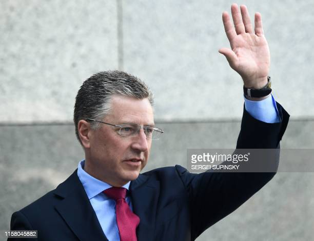 US Ambassador to NATO and US special envoy for Ukraine Kurt Volker waves as he arrives prior to a pressconference in Kiev on July 27 2019 following...