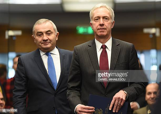 US Ambassador to Romania Hans Klemm and Romanian Foreign Minister Lazar Comanescu arive at Romanian Foreign Ministry headquarters for the Romanian...