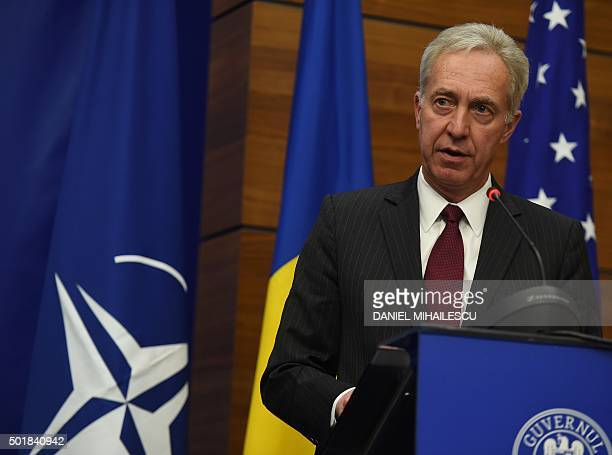 US Ambassador to Romania Hans Klemm delivers a speech at the Romanian Foreign Ministry during a ceremony declaring the technical capability of...