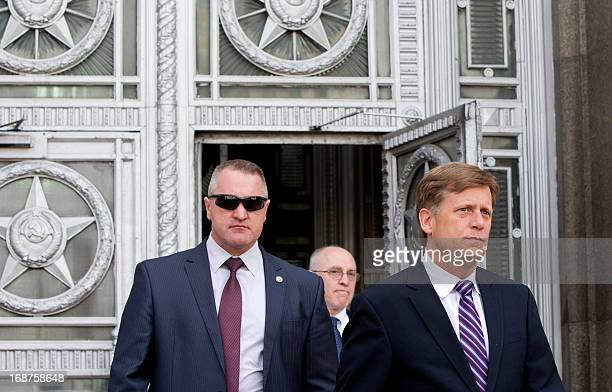 US Ambassador to Russia Michael McFaul leaves the Russian Foreign Ministry headquarters in Moscow May 15 after being summoned to explain the presence...