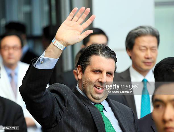 US Ambassador to South Korea Mark Lippert waves as he is released from the hospital on March 10 2015 in Seoul South Korea Lippert was attacked and...
