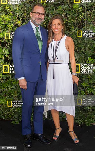 US ambassador to Spain James Costos and Vera Pereira attend the National Geographic Channel 15th Anniversary photocall at the EEUU embassy on July 14...