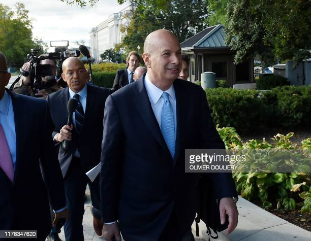 US Ambassador to the European Union Gordon Sondland arrives at the US Capitol October 17 in Washington DC Sondland will appear before Congress for a...