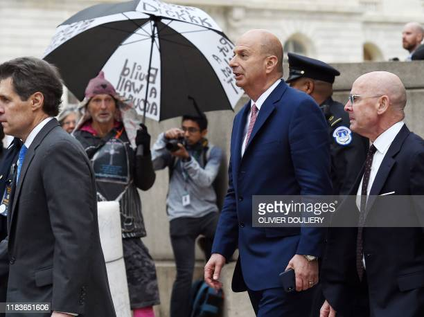 US Ambassador to the European Union Gordon Sondland leaves the Longworth building after testifying during the House Intelligence Committee hearing as...