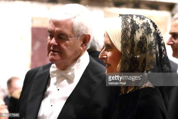 S ambassador to the Holy See Callista Gingrich and her husband Newt Gingrich attend Pope Francis' State Of The World Address to accredited...