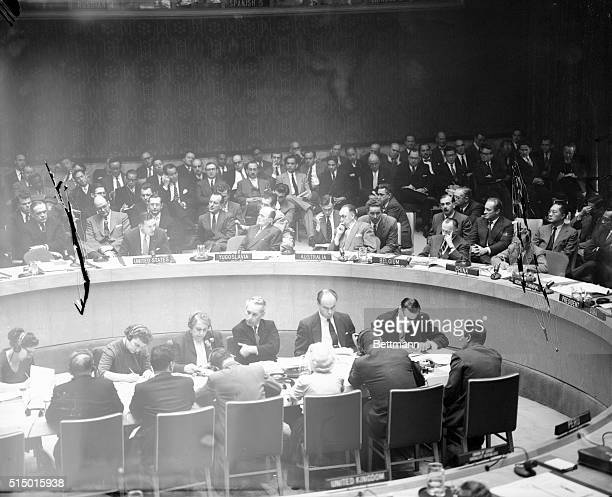 US Ambassador to the UN Henry Cabot Lodge is shown as he addressed the security Council Meeting on the Suez Canal crisis Looking toward Lodge from...