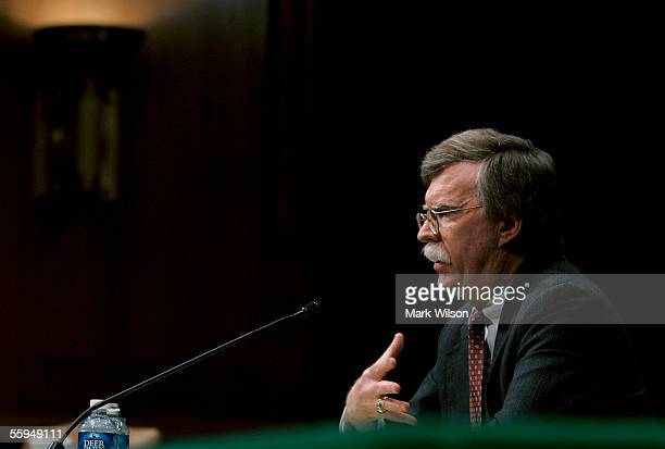 S Ambassador to the UN John Bolton testifies during a Senate Foriegn Relations Committee hearing on Capitol Hill October 18 2005 in Washington DC The...