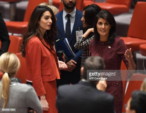 US Ambassador to the UN Nikki Haley and Amal Clooney attend a United Nations Security Council meeting on threats to international peace and security...