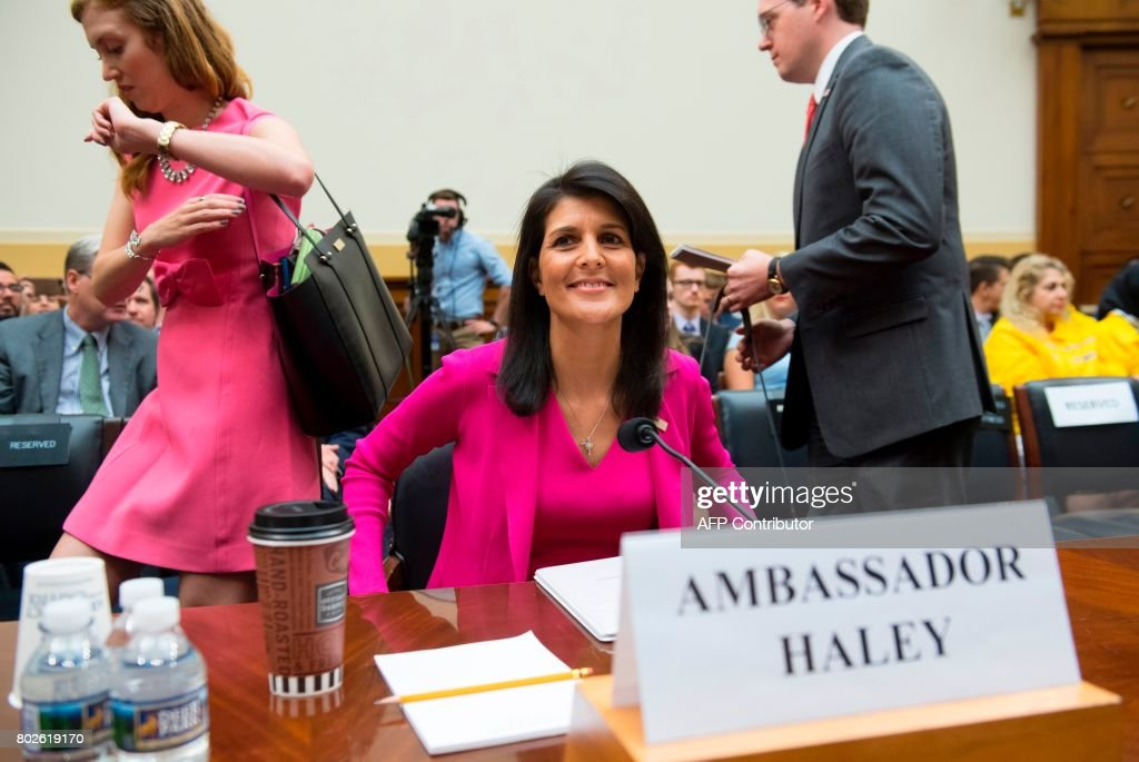 US Ambassador to the UN Nikki Haley arrives to testify during a US House Foreign Affairs Committee hearing on Capitol Hill in Washington, DC, June 28, 2017 The committee held the hearing on 'Advancing US Interests at the United Nations.' /