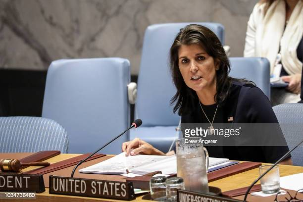 S Ambassador to the UN Nikki Haley speaks during a meeting of the United Nations Security Council at UN headquarters September 17 2018 in New York...