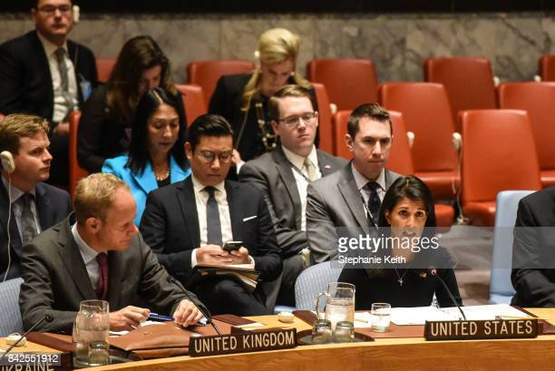 Ambassador to the UN Nikki Haley delivers remarks during a United Nations Security Council meeting on North Korea on September 4 2017 in New York...