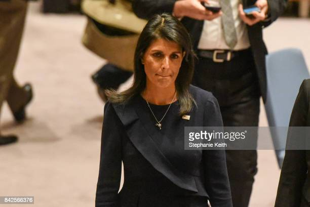 Ambassador to the UN Nikki Haley leaves after a United Nations Security Council meeting on North Korea on September 4 2017 in New York City The...