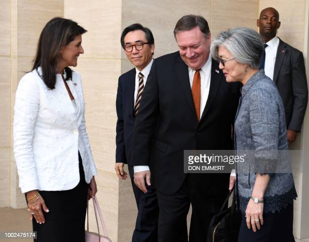 US Ambassador to the UN Nikki Haley South Korean Ambassador to the UN Cho Taeyul US Secretary of State Mike Pompeo and South Korean Foreign Minister...