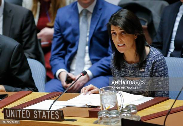 US Ambassador to the UN Nikki Haley speaks after voting on new sanctions against North Korea during a Security Council meeting on December 22 at UN...