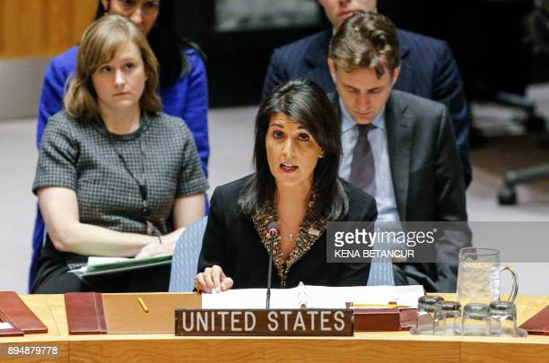 Ambassador to the UN Nikki Haley speaks during a UN Security Council meeting over the situation in the Middle East on December 18 at UN Headquarters...