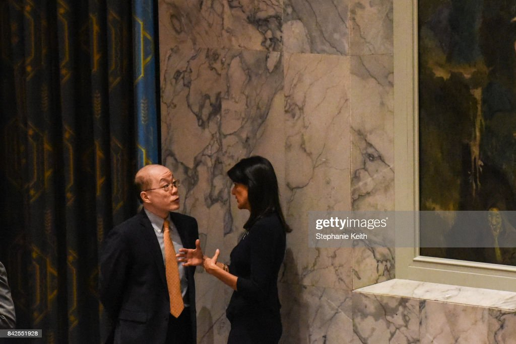 Ambassador to the UN, Nikki Haley, speaks on the sidelines with Chinese Ambassador Liu Jieyi during a United Nations Security Council meeting on North Korea on September 4, 2017 in New York City. The securty council was holding its second emergency meeting in a week after North Korea announced the detonation of what it called an underground hydrogen bomb September 3.