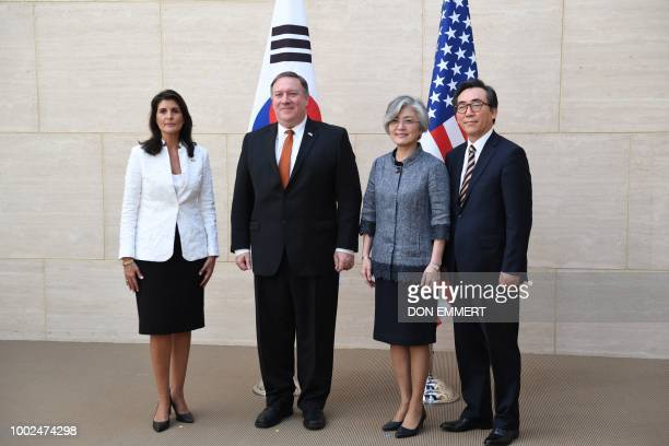 US Ambassador to the UN Nikki Haley US Secretary of State Mike Pompeo South Korean Foreign Minister Kang Kyungwha and South Korean Ambassador to the...