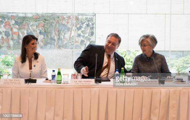 US Ambassador to the UN Nikki Haley US Secretary of State Mike Pompeo and South Korean Foreign Minister Kang Kyungwha meet on July 20 in New York