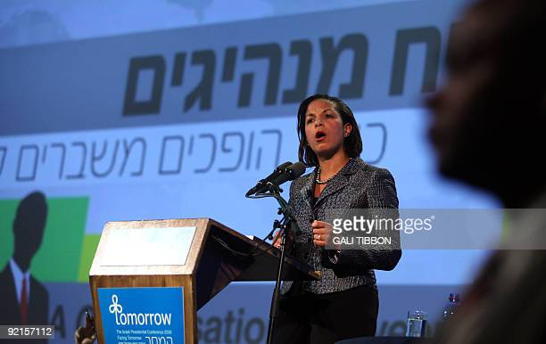US ambassador to the UN Susan Rice delivers a speech during the 'Facing Tomorrow' conference the second annual global conference hosted by Israeli...