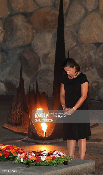 US Ambassador to the UN Susan Rice stands after laying a wreath in the Hall of Remembrance at the Yad Vashem Holocaust memorial in Jerusalem on...