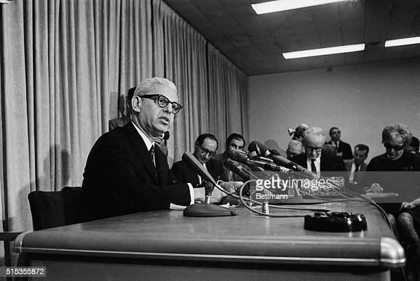 US Ambassador to the United Nations Arthur Goldberg reads a statement to the press on a letter that was given to the United Nations Council President...