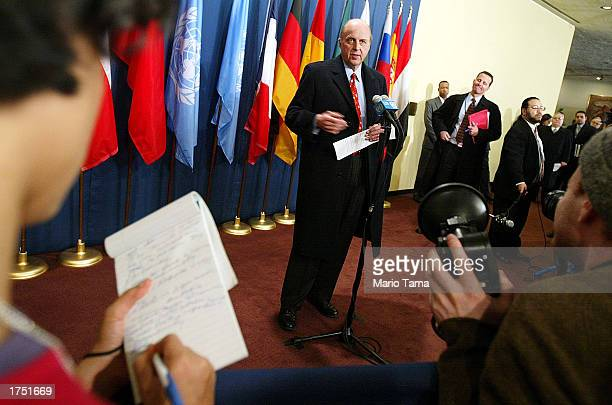 S Ambassador to the United Nations John Negroponte speaks to the news media outside the Security Council chamber following a Security Council meeting...