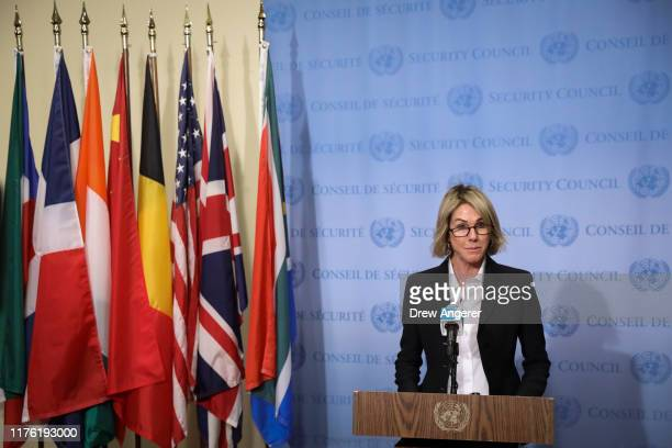 Ambassador to the United Nations Kelly Knight Craft delivers a brief statement to the press after a closed Security Council meeting about the...