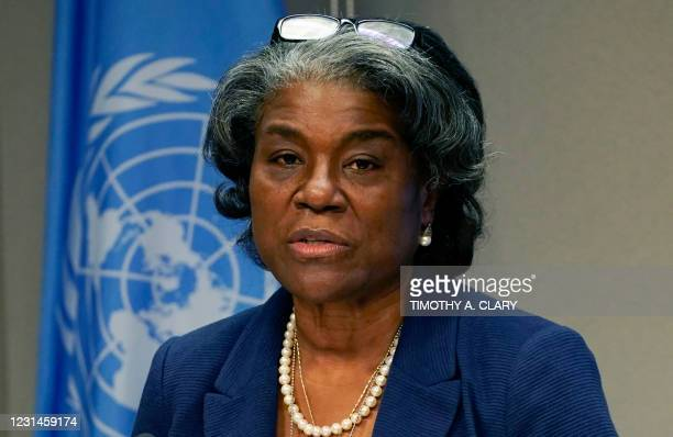 Ambassador to the United Nations, Linda Thomas-Greenfield, and President of the Security Council speaks during a press conference for the Security...