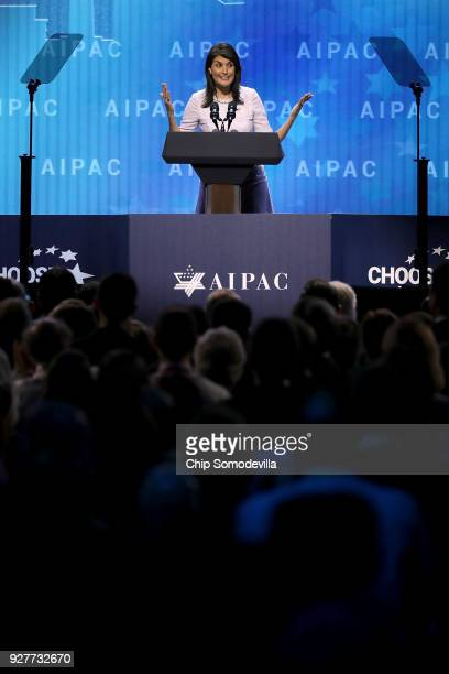 S Ambassador to the United Nations Nikki Haley address the American Israel Public Affairs Committee's annual policy conference at the Washington...