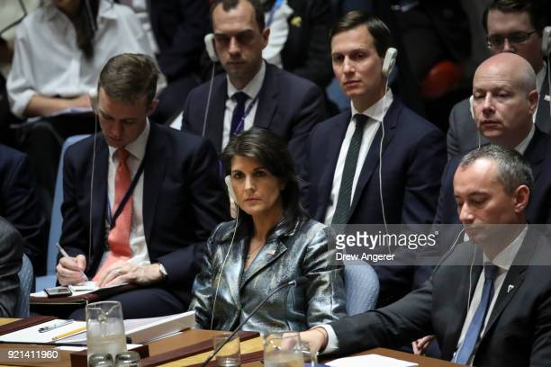 S ambassador to the United Nations Nikki Haley and White House Senior Advisor Jared Kushner behind her attend a United Nations Security Council...