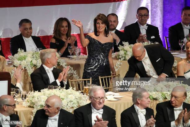 S Ambassador to the United Nations Nikki Haley arrives at the annual Alfred E Smith Memorial Foundation dinner October 18 2018 in New York City The...