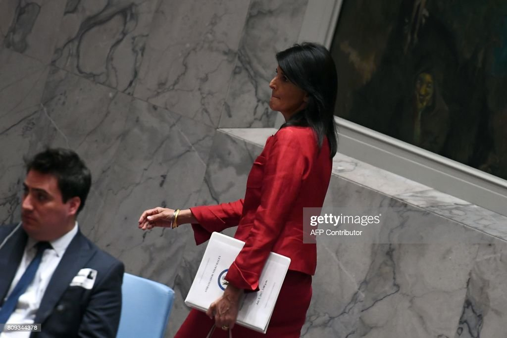 US Ambassador to the United Nations Nikki Haley arrives for a Security Council meeting on North Korea at the UN headquarters in New York on July 5, 2017. The UN Security Council held an emergency meeting after North Korea said it had successfully tested its first intercontinental ballistic missile. / AFP PHOTO / Jewel SAMAD