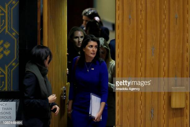 Ambassador to the United Nations Nikki Haley attends a Security Council meeting on the situation in the Middle East including the Question of...