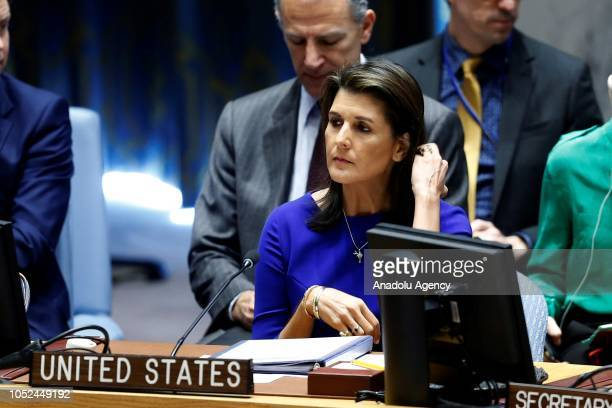 S Ambassador to the United Nations Nikki Haley attends a Security Council meeting on the situation in the Middle East including the Question of...