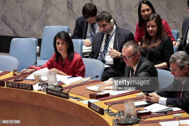 S Ambassador to the United Nations Nikki Haley chairs a meeting of the United Nations Security Council concerning the situation in Syria at UN...