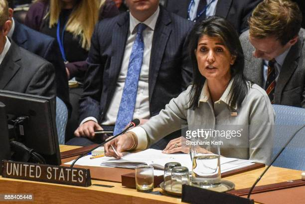 S Ambassador to the United Nations Nikki Haley delivers a speech during a United Nations Security Council meeting on the situation in Palestine at...