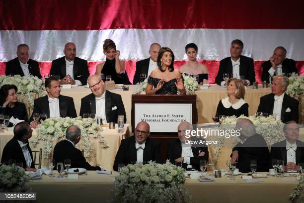 S Ambassador to the United Nations Nikki Haley delivers the keynote speech during the annual Alfred E Smith Memorial Foundation dinner October 18...