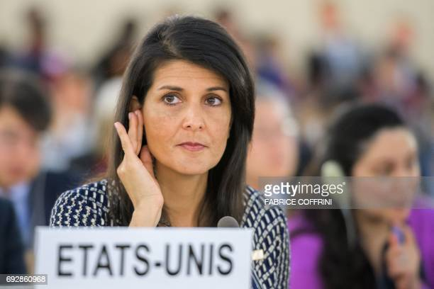 US Ambassador to the United Nations Nikki Haley gestures as she addresses a session of United Nations Human Rights Council on June 6 2017 in Geneva...