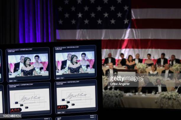 S Ambassador to the United Nations Nikki Haley is displayed on a monitor as she delivers the keynote address at the annual Alfred E Smith Memorial...